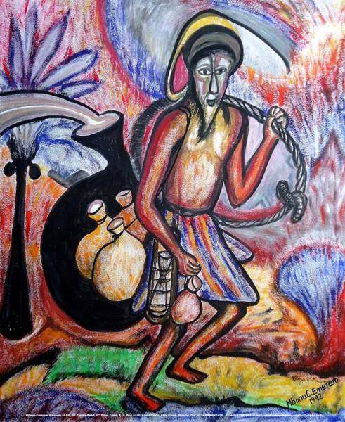 Recycling Painting - The Palm-wine Tapper #3 by Mbonu Emerem
