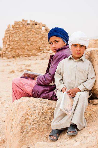 Stone Wall Art - Photograph - The Palmyra Bedouin Children by Iordanis Pallikaras