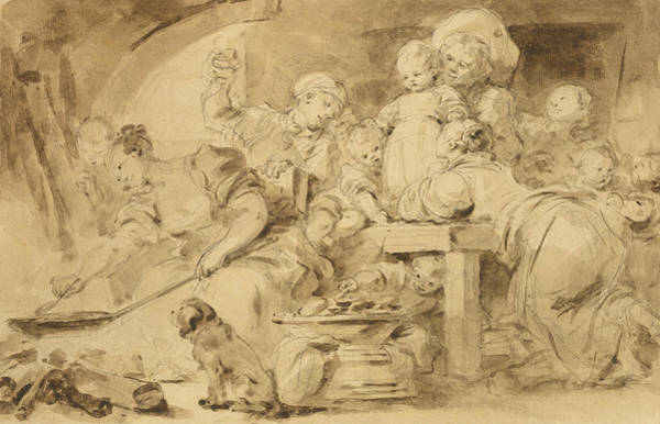 Cook Drawing - The Pancake Maker  by Jean-Honore Fragonard