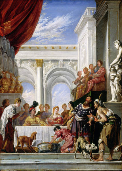 Painting - The Parable Of Lazarus And The Rich Man by Workshop of Domenico Fetti