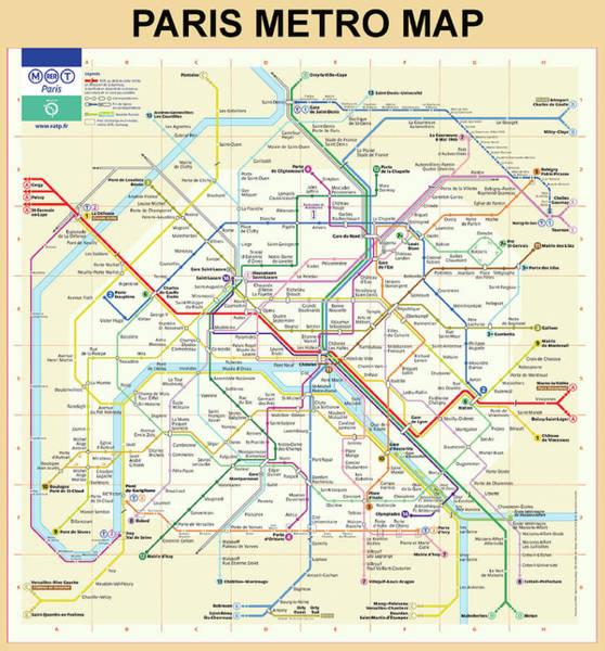 Digital Art - The Paris Metro Map  by Digital Reproductions