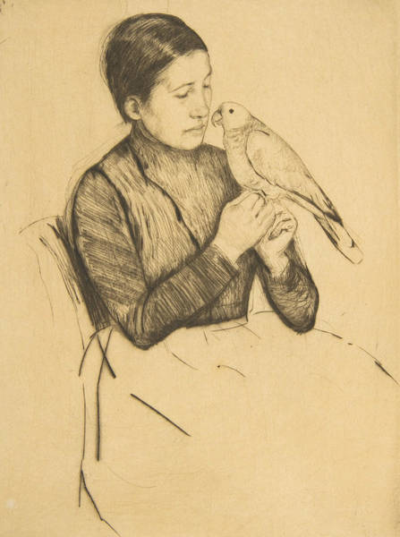 Relief - The Parrot by Mary Cassatt