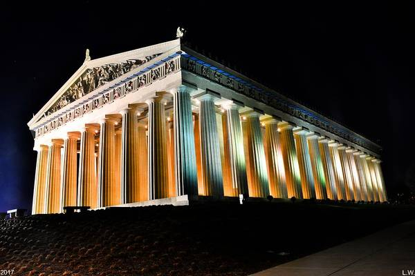 Photograph - The Parthenon In Nashville Tennessee At Night 2 by Lisa Wooten