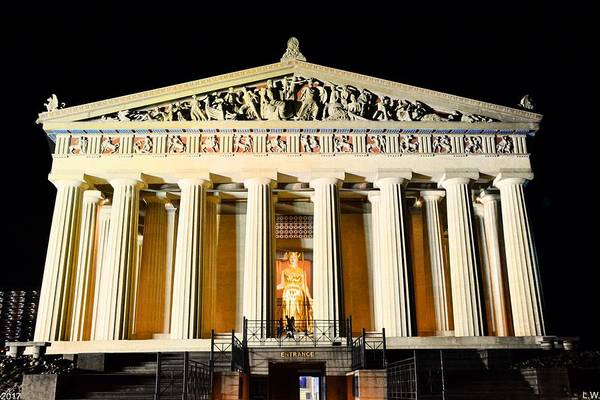 Photograph - The Parthenon In Nashville Tennessee At Night  3 by Lisa Wooten