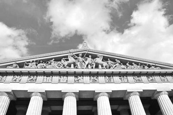 Photograph - The Parthenon In Nashville Tennessee Black And White 2 by Lisa Wooten