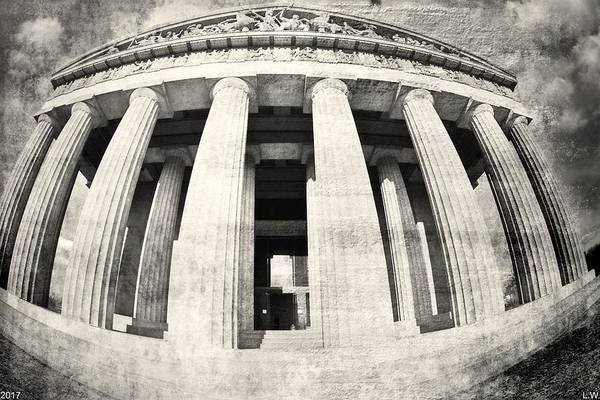 Photograph - The Parthenon In Nashville Tennessee Black And White 3 by Lisa Wooten