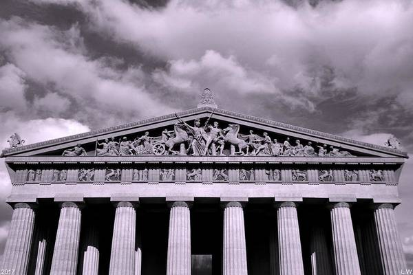 Photograph - The Parthenon In Nashville Tennessee Black And White by Lisa Wooten