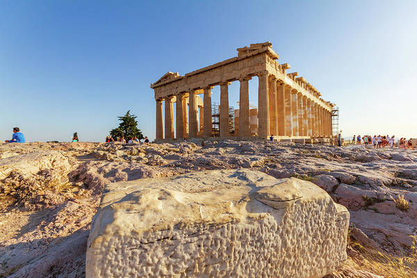 Stone Wall Art - Photograph - The Parthenon On The Acropolis Of Athens Surrounded By Tourists  by Iordanis Pallikaras