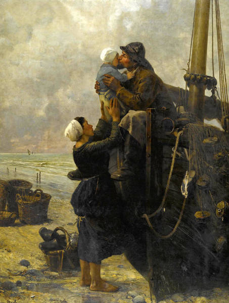 Wall Art - Painting - The Parting Kiss by Pierre-Marie Beyle