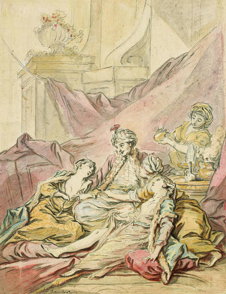 French Artist Drawing - The Pasha In His Harem by Francois Boucher