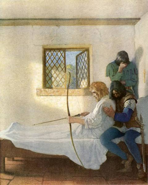 Dying Painting - The Passing Of Robin Hood by Newell Convers Wyeth