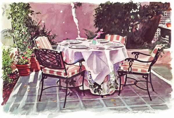 Painting - The Patio - Hotel Bel-air  by David Lloyd Glover