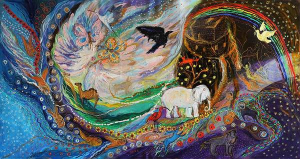 Kabbalistic Wall Art - Painting - The Patriarchs Series - Ark Of Noah by Elena Kotliarker
