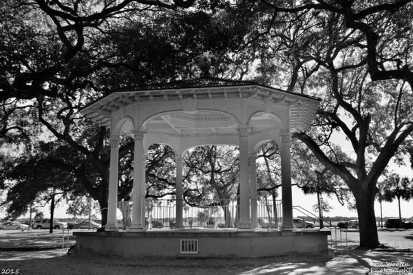 Photograph - The Pavilion At Battery Park Charleston S C Black And White by Lisa Wooten