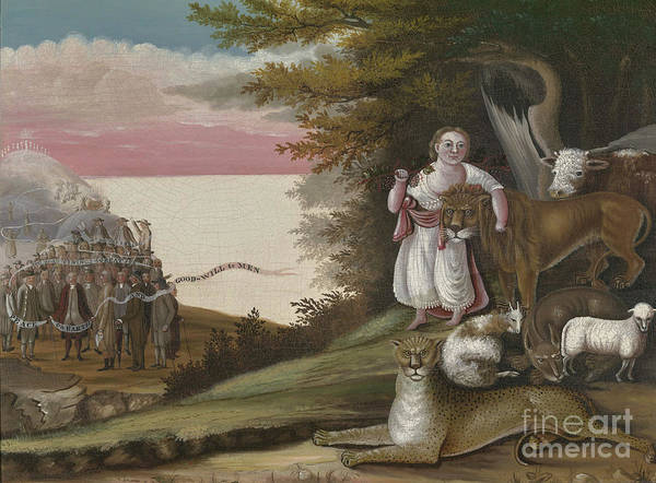 Wall Art - Painting - The Peaceable Kingdom, 1829-30 by Edward Hicks
