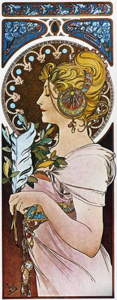 Painting - The Pen by Alphonse Mucha