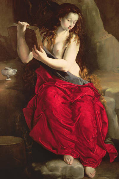Wall Art - Painting - The Penitent Magdalen by Spanish School