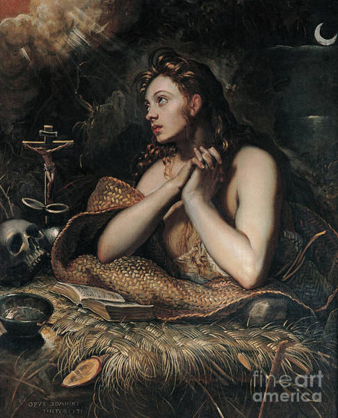 Wall Art - Painting - The Penitent Magdalene by Domenico Robusti Tintoretto