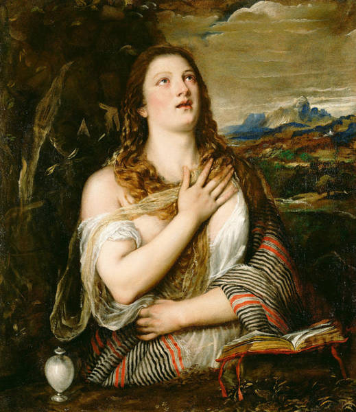 Titian Painting - The Penitent Magdalene  by Titian