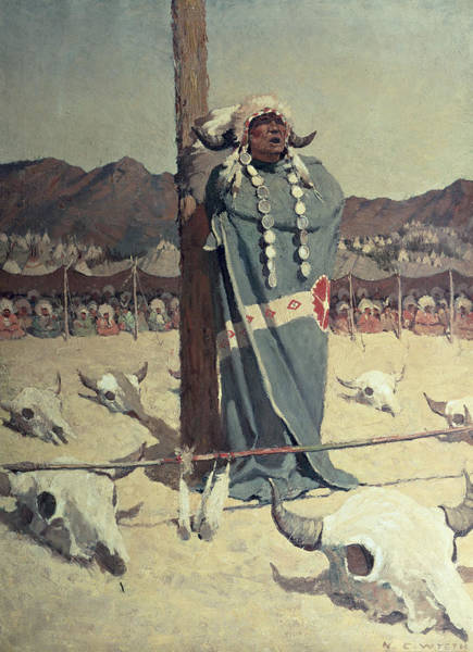 Native Headdress Painting - The Petition by Newell Convers Wyeth