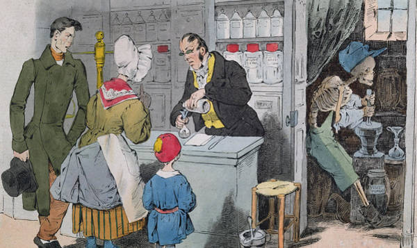 Back Painting - The Pharmacist And His Assistant by Grandville