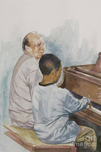 Piano Key Painting - The Piano Lesson by Colin Bootman