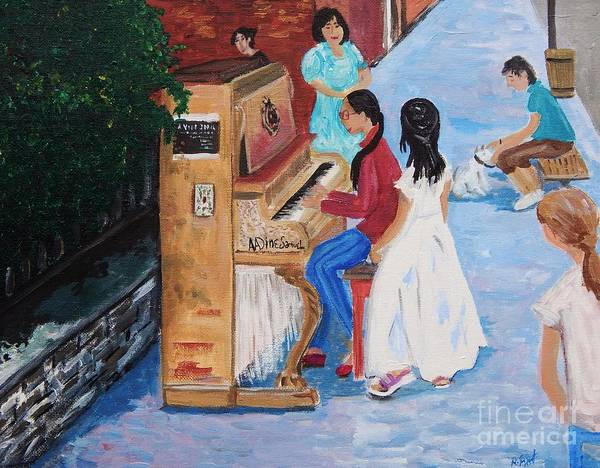 Montreal Street Scene Painting - The Piano Player by Reb Frost