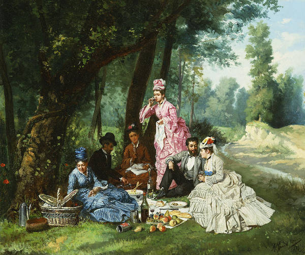 Picnic Basket Wall Art - Painting - The Picnic by Antonio Garcia Mencia