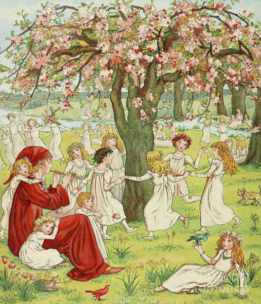 Wall Art - Painting - The Pied Piper by Kate Greenaway