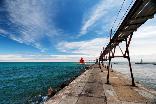 Photograph - The Pier At Sturgeon Bay by Lars Lentz