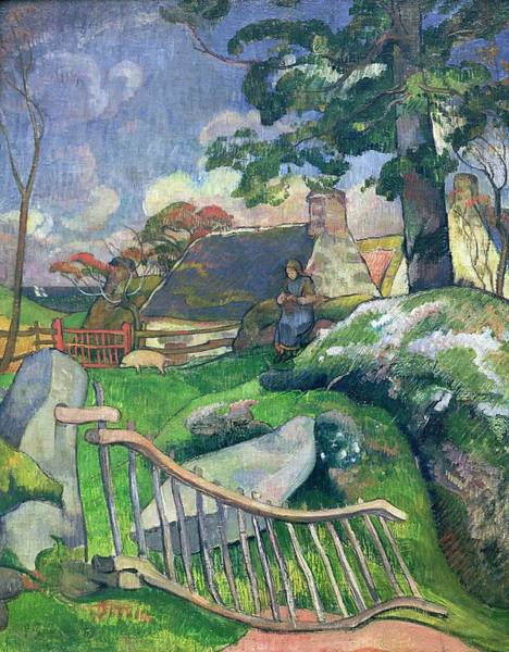 Wall Art - Painting - The Pig Keeper by Paul Gauguin