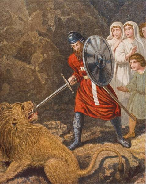 Wall Art - Drawing - The Pilgrims Meeting With A Lion. From by Vintage Design Pics