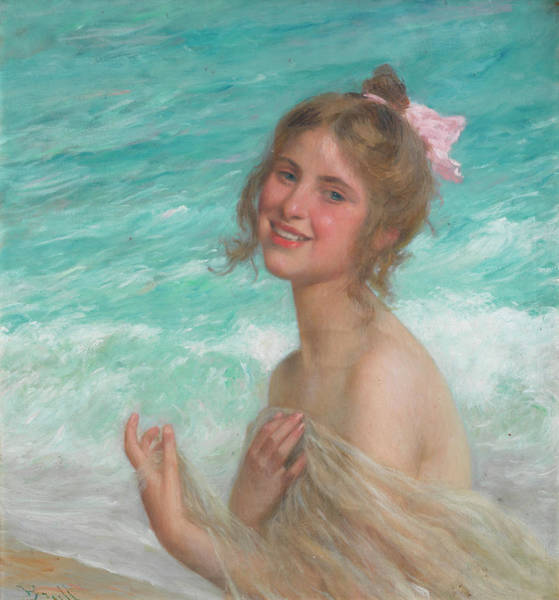 Beauty Wall Art - Painting - The Pink Bow by Juan Brull Vinyoles
