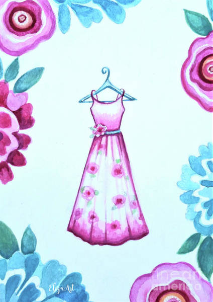 Painting - The Pink Floral Dress by Elizabeth Robinette Tyndall