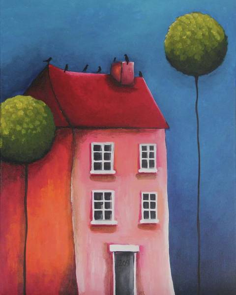Neighborhood Painting - The Pink House by Lucia Stewart