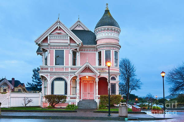 Queen Anne Style Photograph - The Pink Lady Is The Ornate Victorian Home Of Milton Carson. by Jamie Pham