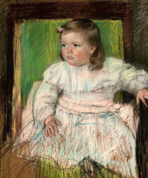 Pastel - The Pink Sash by Mary Cassatt