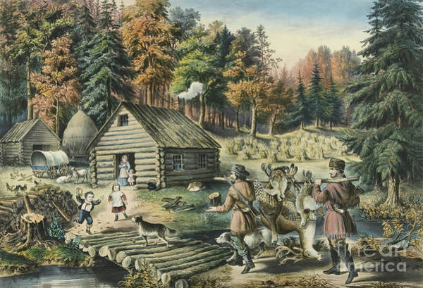 Settlers Painting - The Pioneers Home On The Western Frontier, 1867  by Currier and Ives