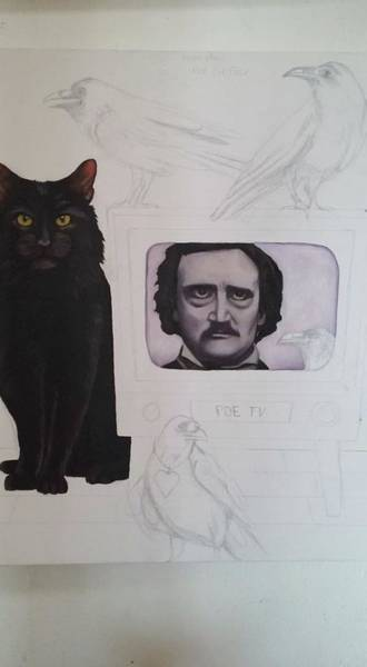 Painting - The Poe Show Work In Progress by Leah Saulnier The Painting Maniac