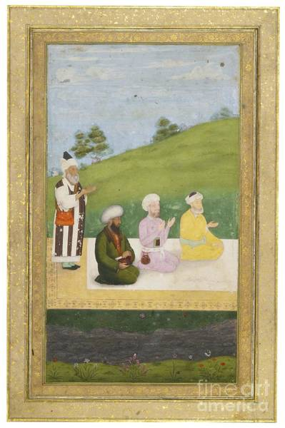Painting - The Poet Jami With Companions In A Landscape by Celestial Images