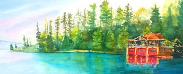 Adirondack Mountains Painting - The Point Resort Boathouse Saranac Lake Ny by Carlin Blahnik CarlinArtWatercolor