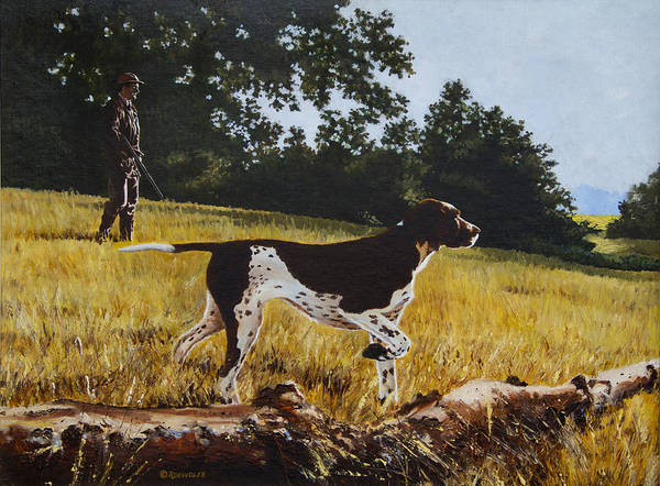 German Pointer Painting - The Point by Richard De Wolfe