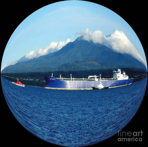 Photograph - The Polar Resolution Oil Tanker In Port Angeles Harbor Beneath The Olympic Mountains by Delores Malcomson