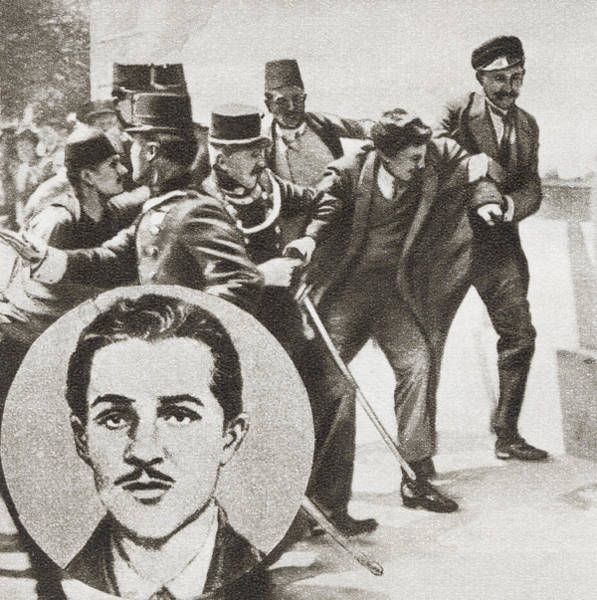 Wall Art - Drawing - The Police Arresting Gavrilo Princip by Vintage Design Pics