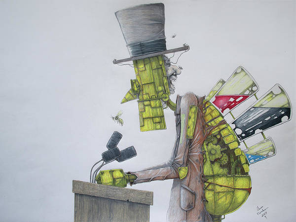 Wall Art - Drawing - The Political Machine by Chase Fleischman