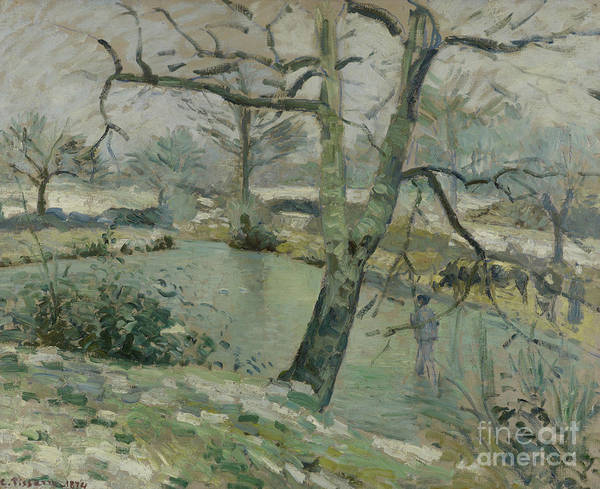 Wall Art - Painting - The Pond At Montfoucault, Effect Of Winter, 1874 by Camille Pissarro