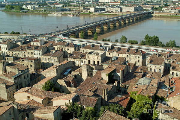 Wall Art - Photograph - The Pont De Pierre Over The Garonne River And Surrounding City In Bordeaux by Sami Sarkis