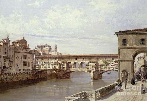 Riverside Wall Art - Painting - The Pontevecchio - Florence  by Antonietta Brandeis