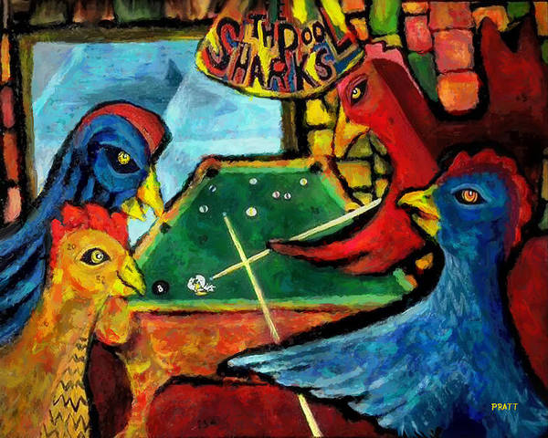 Broken Egg Painting - The Pool Sharks 1 by Robert Pratt