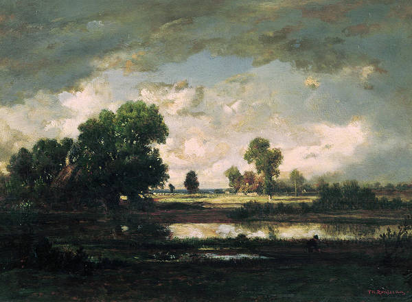 Pool Painting - The Pool With A Stormy Sky by Pierre Etienne Theodore Rousseau
